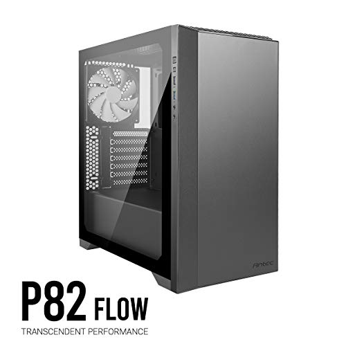 Antec Performance Series P82 Flow ATX Mid-Tower Case, Tool-Free Tempered Glass Side Panel, Removable 2.5″ SSD Rack, Support for Up to 4 x 2.5″ SSDs, White LED, 4 x 140 mm White Blade Fans Included