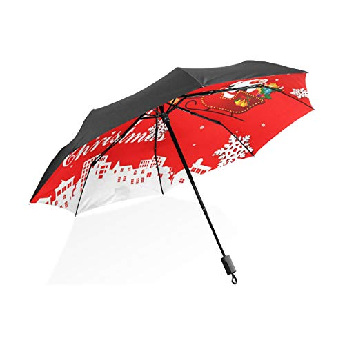 (Umbrella Animated Christmas Clipart Happy Folding Sun Protection Anti-UV Umbrella Windproof Lightweight for Men/Women)