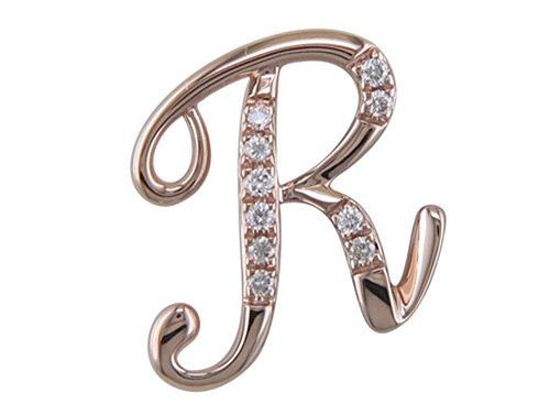JMS Jewelry 18K Rose Gold Initial R Pave with Diamond Pendant (82)