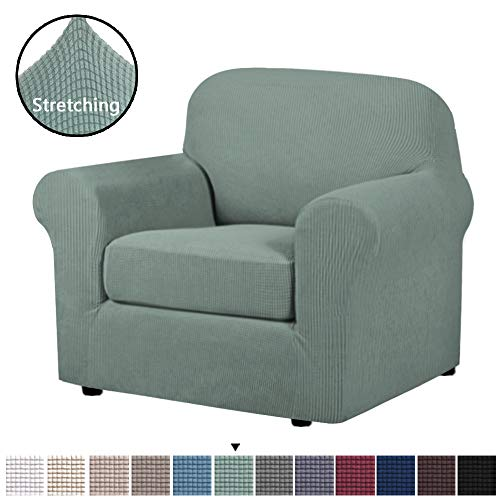 H.VERSAILTEX 2-Piece Armchair Cover Chair Slipcovers with Arms Sofa Slipcover for Chair Fit Chair Width Up to 48 Inch, Anti-Slip Rich Lycra Knitted Jacquard Fabric Small Checks(Chair, Sage)