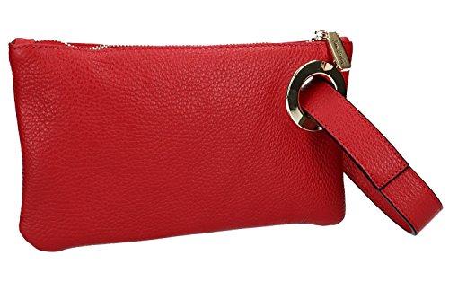 Borsa donna a mano mini PIERRE CARDIN pochette rossa pelle Made in Italy VN1011