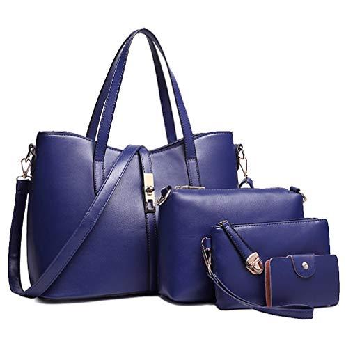Sac Main à Sac bleu Set 4pcs de la Mode Femmes à en Clutches PU Carte 4 Noir Bandoulière Titulaire Cuir EgIqxBwx