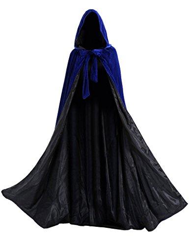 CYTCreation Blue Velvet Medieval Renaissance Cloak Cape Lined with Black Satin (XXXXXX-Large)