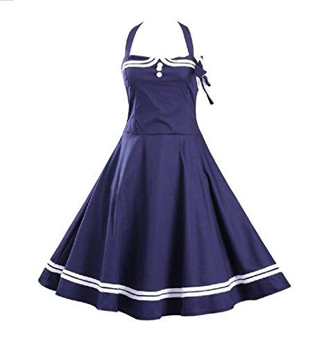 Retro Sailor Dress - S-3XL Women's 1950s Halter Vintage Rockabilly Dress Pinup Retro Sailor Cocktail Dress 4 Colors 6 Sizes (2XL, Navy)