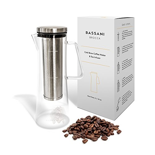 Cold Brew Iced Coffee Maker and Tea Infuser with Spout | Brocca by Bassani | 1.0L / 32oz Glass Carafe with Stainless Steel Removable and Reusable Filter