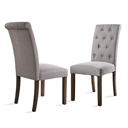 Merax Button-tufted Upholstered Accent Dining Chair Modern Elegant Armless Chairs, Set of 2 (gray) (Accent Chairs Upholstered)