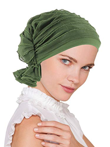 Abbey Cap Womens Chemo Hat Beanie Scarf Turban Headwear for Cancer Ruffle Olive Green