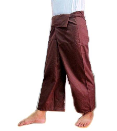 Brown Thai Fisherman Wrap Pants Trousers Yoga Massage Pregnancy Pants Free Size