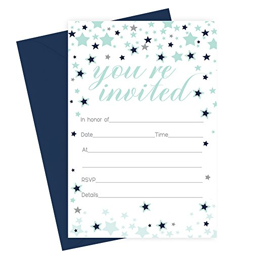 Star Invitations with Envelopes - Navy and Mint - Set of 15 Announcements