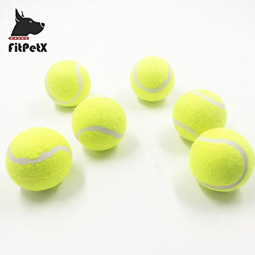 FitPetx Squeaker Tennis balls, Pet Squeaky Toy, 2.5 Medium Balls for Puppies, Yellow, 6-packs
