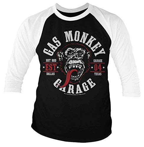 Gas Monkey Garage T Shirt Round Seal Official Mens Black Baseball 3/4 Sleeve Size L -
