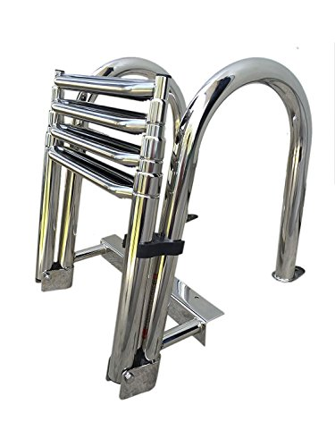 Stainless Steel In-board Swim Fiberglass Platform 4-steps Ladder Reinforce Folding Docking Ladder
