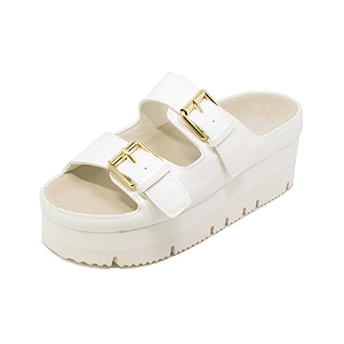 Bke Leather (Summer Slippers Women Wedge Sandals Flat Platform Sandals Shoes Slip-on Leather Slides Flip Flops(White 38/7.5 B(M) US Women))