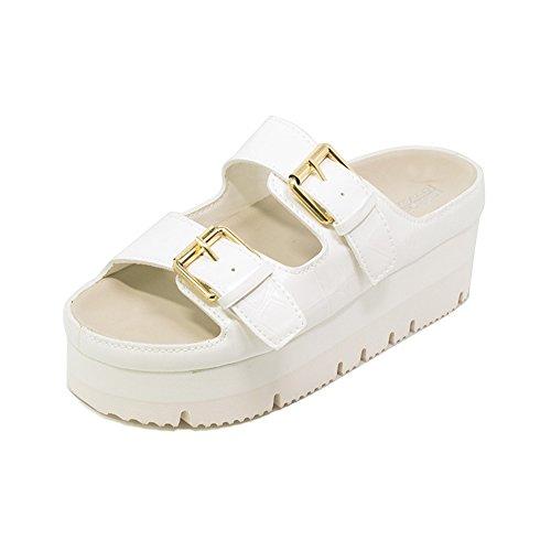 Leather Bke (FUN.S Summer Slippers Women Wedge Sandals Flat Platform Sandals Shoes Slip-on Leather Slides Flip Flops(White 38/7.5 B(M) US Women))