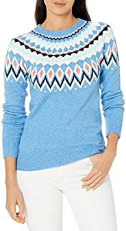 Amazon Essentials Women's Classic-Fit Soft-Touch Crewneck Fair Isle Swe