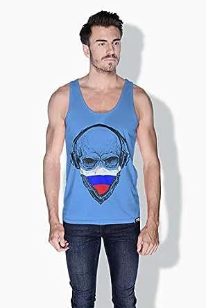 Creo Russia Skull Tanks Tops For Men - L, Blue