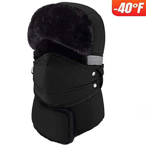 mysuntown Winter Windproof Warm Hat & Trapper Ushanka Hat, Beanie Warm Hats for Men and Women Outdoor Skiing Sport (Black)