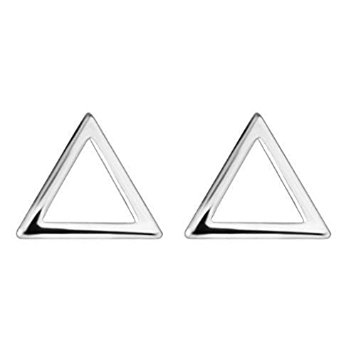925 Sterling Silver Geometric Charm Hollow Triangle Piercing Stud Earring For Girls Women Christmas Gift