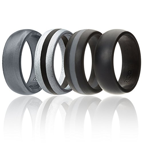 ROQ Silicone Wedding Ring For Men By, 4 Pack & Singles Of