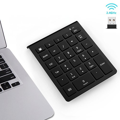 Wireless Number Pad, 7Lucky 28-Key Numeric Keypad : Multi-Function Numpad Keyboard With 2.4G Mini USB Receiver for Windows Laptop Desktop PC Notebook, Surface pro and More - Black
