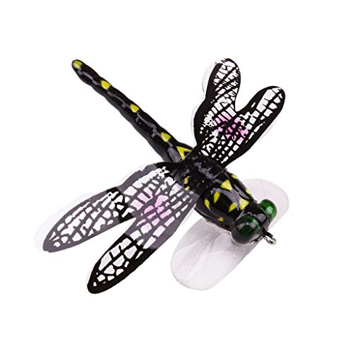 CapsA Fishing Topwater Lures Life-Like Dragonfly Floating Fly Fishing Popper Boat Lures for Trout Bass Perch Fishing (C)