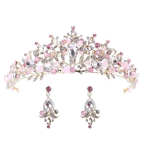FaFaVila Gold Wedding Crown Bridal Tiaras with Earrings Pink Purple Headband for Women and Girls