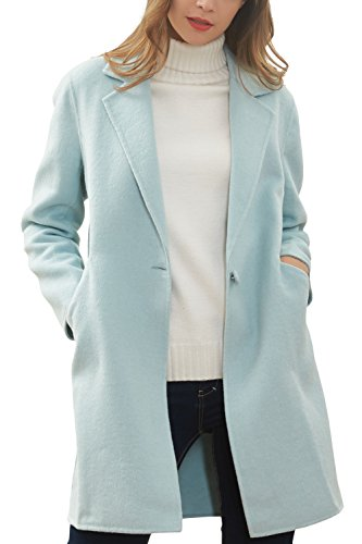 Button One Coat Wool (Hanayome Women's Warm Winter Wool Coat Lapel One Button Regular Fit Trench Jacket MI25 (Mint Green, 8))