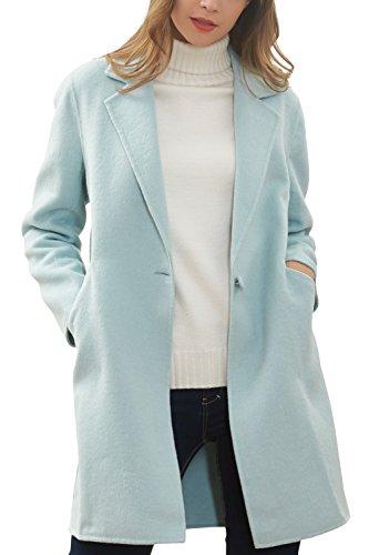 Button One Wool Coat (Hanayome Women's Warm Winter Wool Coat Lapel One Button Regular Fit Trench Jacket MI25 (Mint Green, 8))
