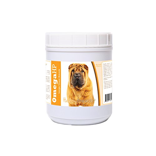 Healthy Breeds Dog Omega HP Fish Oil Soft Chews for Chinese Shar Pei - OVER 100 BREEDS - EPA & DHA Fatty Acids - Medium & Large Breed Formula - 90 Count