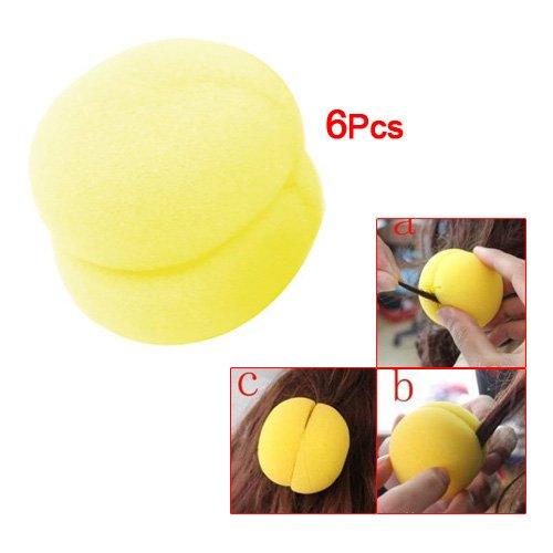 Rizador - SODIAL(R) 6pzs Herramienta rizador del rodillo de disenador de pelo bola de esponja amarillo para senora: Amazon.es: Salud y cuidado personal
