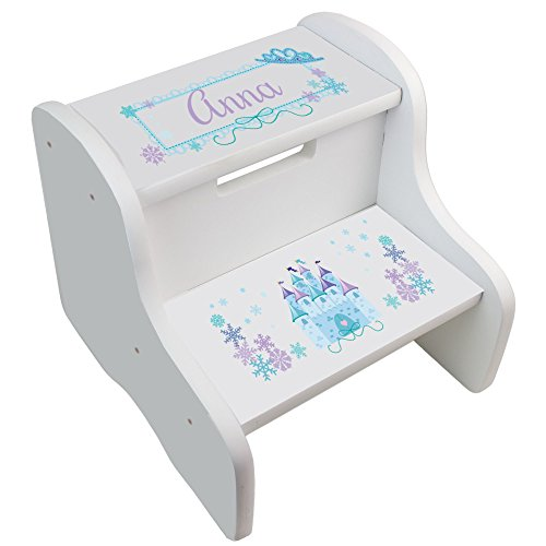 Personalized Ice Princess Castle White Two Step Stool