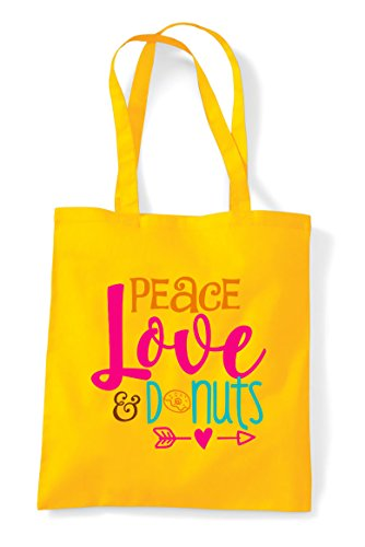 Love Tote Shopper Donuts Bag Statement Yellow Peace And zdWgAwpnga