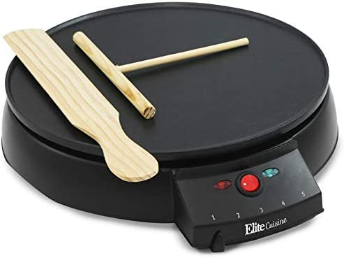 Elite Cuisine ECP-126 Electric Crepe Maker and Non-stick Griddle with Spreader, Spatula and Recipes, 12 , Black