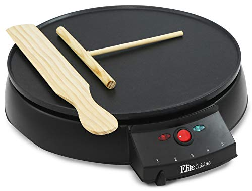 Elite Cuisine ECP-126 Electric Crepe Maker and Non-stick Griddle with Spreader, Spatula and Recipes, 12