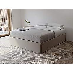 Bedroom VANT Upholstered Platform Bed – King Size – Velvet Sand Storm – Easy Assembly Bed Frame No Box Spring Needed Foundation… modern beds and bed frames