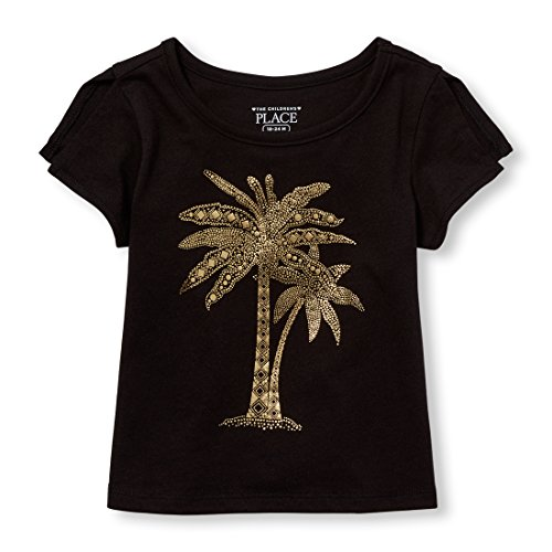 The Children's Place Baby Girls Short Sleeve Top, Black 98118, 5T