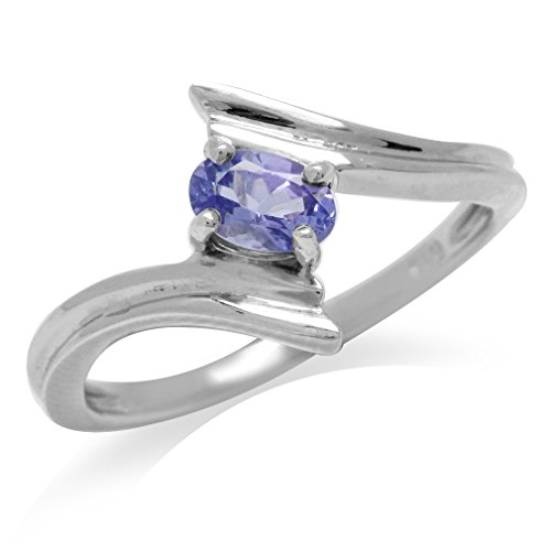 Genuine Tanzanite White Gold Plated 925 Sterling Silver Bypass Solitaire Ring Size 6
