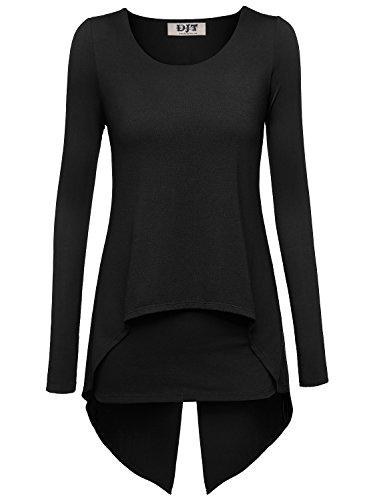 DJT Damen Langarmshirt Rundkragen Asymmetrisch Faux Twinset T-Shirt Schwarz L