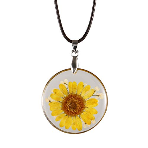 FM FM42 Pressed Dried Yellow Daisy Flower Round Pendant Necklace FN4162