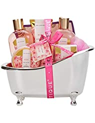 Spa Luxetique Spa Gift Basket Rose Fragrance, Premium 8pc Gift Baskets for Women, Cute Bath Tub Holder - Best Holiday Spa Gift Set for Women- Bath Bombs, Shower Gel, Body Lotion & More!