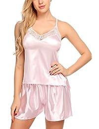Avidlove Women Satin Pajamas Strap Sleepwear Lace Camisole Short Sets