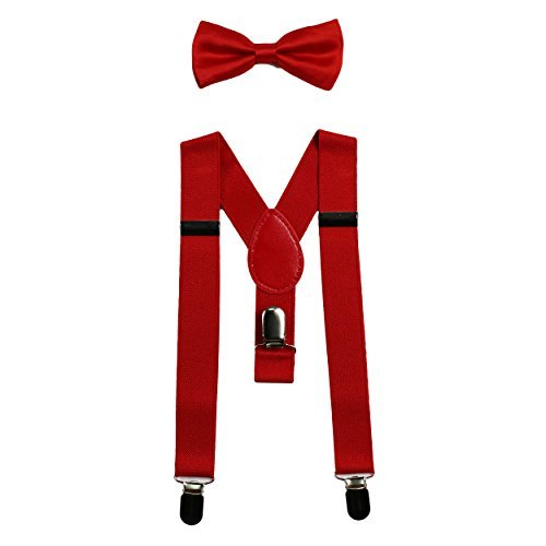Infant Bowties (Baby Suspenders and Bow Tie Set (Elastic Adjustable--Fits Baby to Toddler) (Red))