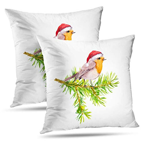 Fuatto Watercolor Cute Santa Pillowcase,Monicl Throw Pillow Covers, Bird Red Holiday Hat Christmas Tree Double-Sided Cushion Cover 18 x 18 inch Set of 2 Decorative Home Bed Gift Bird Red Holiday