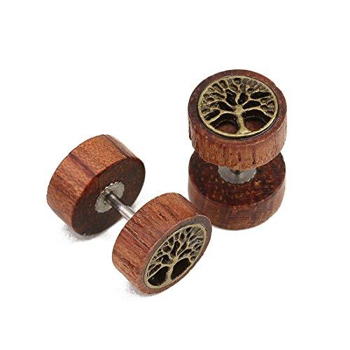 Linsoir Beads Wood Stud Earrings Fake Ear Plugs with Skull/Lion Head/Frisbee/Tree of Life/Cross/Maple Leaf Emblem Post Earring Hypoallergenic Screw Pack of 2 (Life Cross)