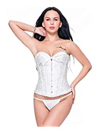 Miss Moly Women's Sexy Vintage Lace up Boned Overbust Corset Bustier Top Plus Size
