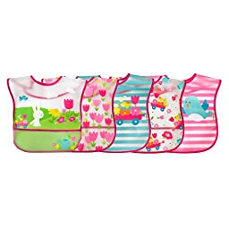 green sprouts  Wipe-Off Bib, Pink Garden, 5 Count