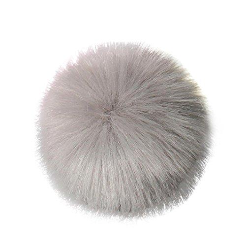 Creazy DIY Faux Fox Fur Fluffy Pompom Ball for Knitting Hat Hats (Gray)