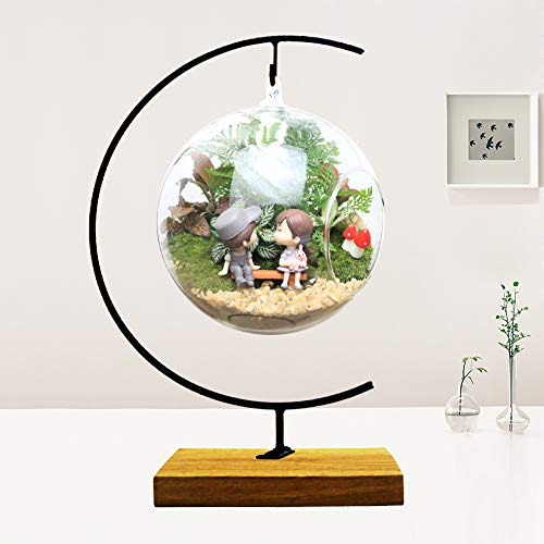 (Ornament Display Stand Flower Plant Pot Stand Holder Iron Pothook Stand for Hanging Glass Terrarium (Wood))