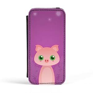 Pig Carcasa Protectora Premiun PU en Cuero, con Tapa para Apple® iPhone 5 / 5s de DevilleArt + Se incluye un protector de pantalla transparente GRATIS