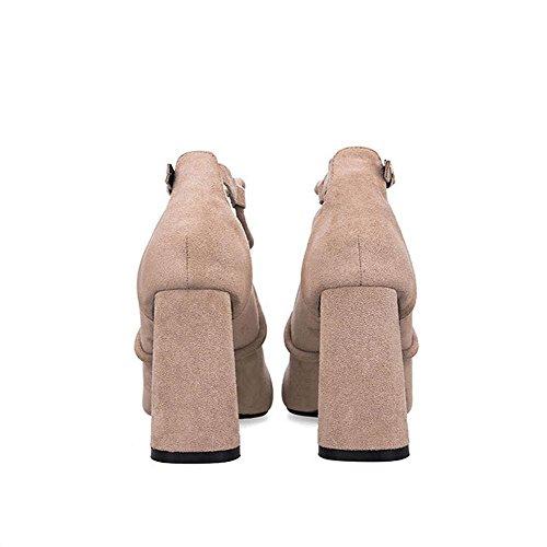 Correas Escenario Bombas Altos Hebilla Toe Trabajo Nocturno Partido Cuero Sandalias Club Casual Zapatos Tacones Cruzadas Suede Boda Cerrado Mujer apricot WqU8nga1